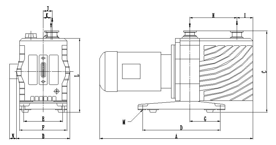 Dimensions drawing of the EVD-small series vacuum pumps
