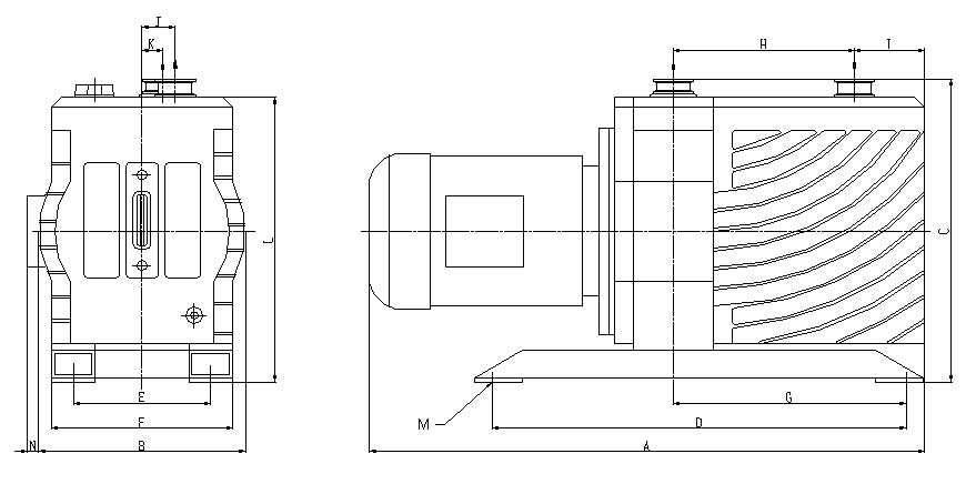 Dimension drawing of the medium size EVD-series vacuum pumps